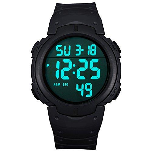 ZEIGER Digital Silikon Schwarz Sportuhr LED Licht Alarm Datum W342