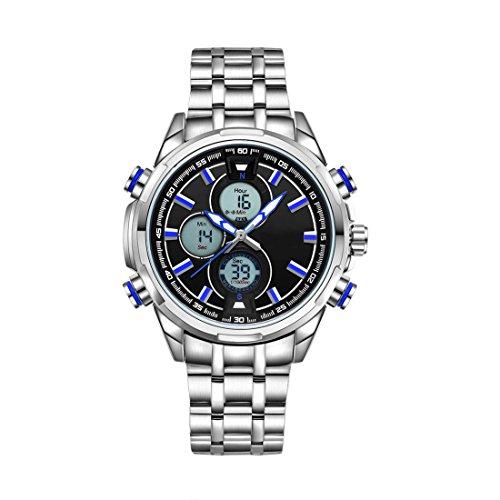 ZEIGER Digital Analog Quarzuhr Datum Licht Armbanduhr Silber Edelstahl mit blauem Zeiger W396