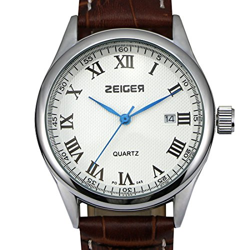 ZEIGER Elegant Datum Analog Braun Leder ArmbanduhrW313