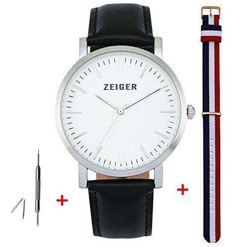 Zeiger Unisex Geschenkset Damen Luxurioeses Zifferblatt und Zeiger Uhrbaender schwarzes Leder Canvas
