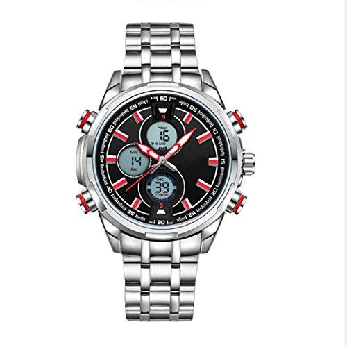 ZEIGER Digital Analog Quarz Licht Datum Armbanduhr Silber Edelstahl mit rotem Zeiger W398