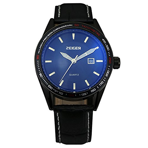 ZEIGER Quarz Analog Datum Schwarz Leder Armbanduhr Herren W321