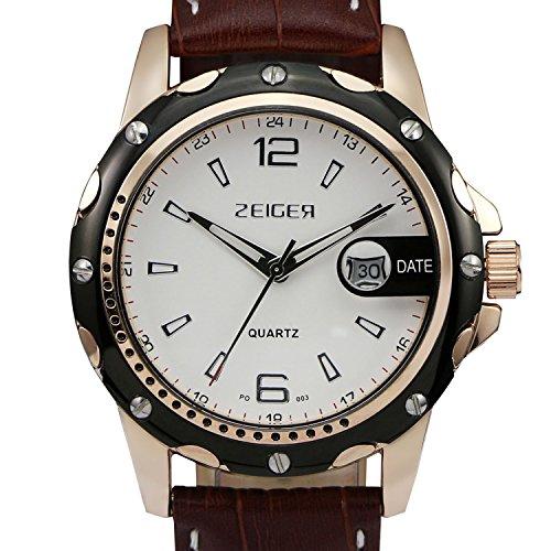 ZEIGER Armbanduhr Braun Analog Quarz Luxus Datum W314