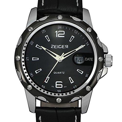 ZEIGER Armbanduhr Datum Analog Quarz Luxus Schwarz W315