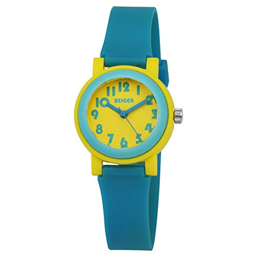 ZEIGER Kinder Uhr Blau Gelb Analog Quarz Sportlich Uhr KW074
