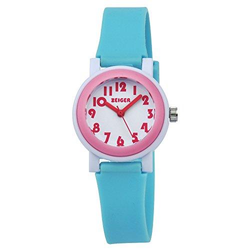 ZEIGER Kinder Uhr Analog Quarz Uhr Blau Rosa Lernuhr KW076