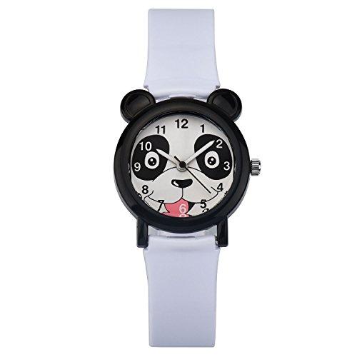 ZEIGER Kinderuhr Weiss Maedchen suess Panda Analog Quarz Uhren KW068
