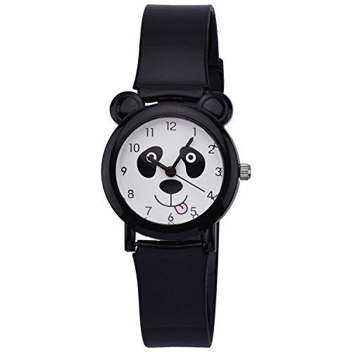 ZEIGER Kinderuhr Schwarz Jungen niedlich Panda Analog Quarz Uhren KW067