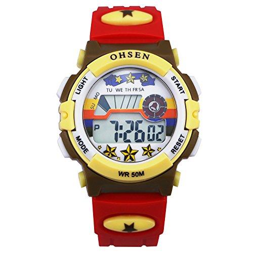ZEIGER Kinderuhr Digital Sportlich Jungen Datum Alarm Jungen Maedchen Uhr Rot KW066