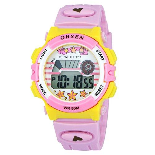 ZEIGER Kinderuhr Digital Sportlich Datum Alarm Maedchen Uhr Rosa KW065
