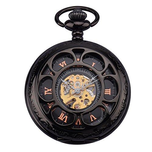 ZEIGER Analog Mechanisch Handaufzug Uhr Skelett Taschenuhr Armbanduhr Edelstahl W343