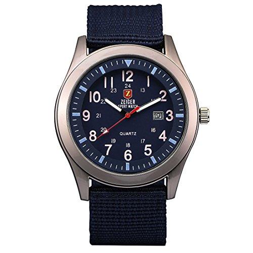 ZEIGER Militaer Serie Analog Quarz Sport Armbanduhr Datum Anzeiger W284