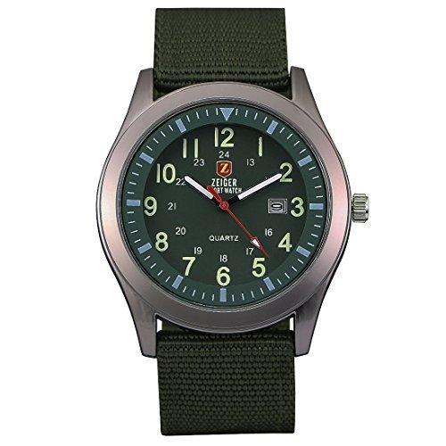 ZEIGER Militaer Serie Analog Quarz Gruen Armbanduhr Datum Anzeiger W283