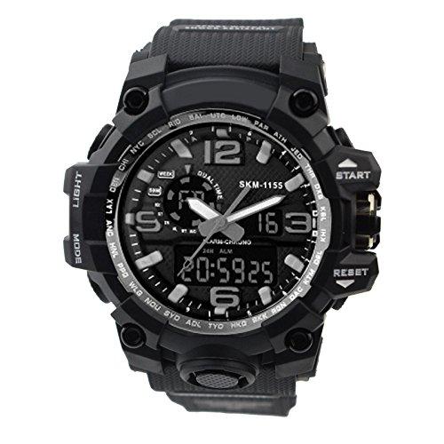 ZEIGER Punk Uhr Schwarz Sportuhr Analog Datum Licht Alarm Chronograph W367