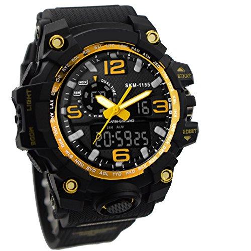 ZEIGER Punk Uhr Schwarz Gold Sportuhr Analog Digital Doppelzeit Alarm Chronograph W368