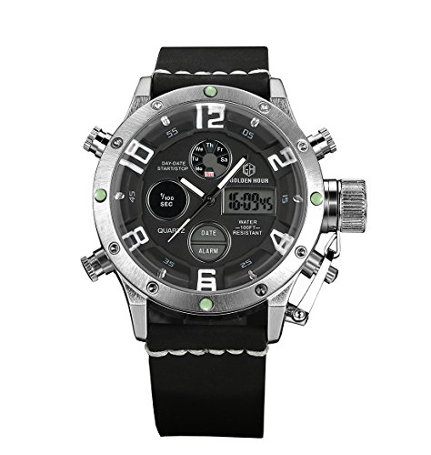 ZEIGER Sportlich Digital Analog Schwarz Sportuhr Datum Chronograph Licht W356