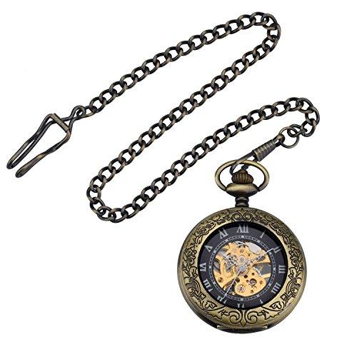 ZEIGER Herren Taschenuhr Analog Mechanisch Handaufzug Uhr Skelett Taschenuhr Armbanduhr Bronze W345