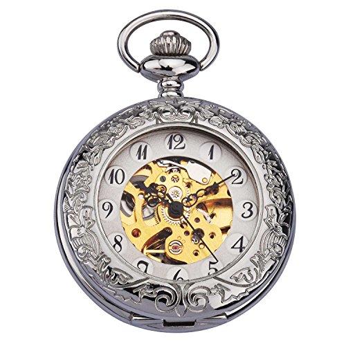 ZEIGER Herren Taschenuhr Analog Mechanisch Handaufzug Uhr Skelett Taschenuhr Armbanduhr Silber W344