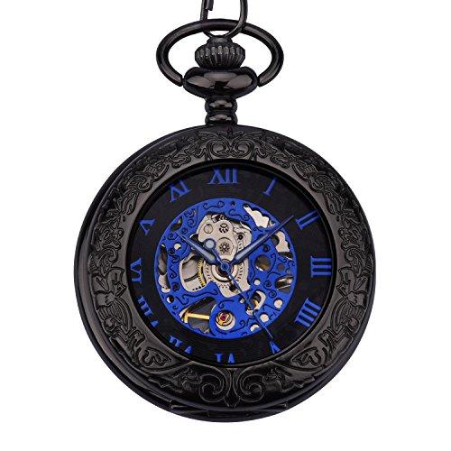 ZEIGER Herren Taschenuhr Analog Mechanisch Handaufzug Uhr Skelett Taschenuhr Armbanduhr Schwarz Blau W348