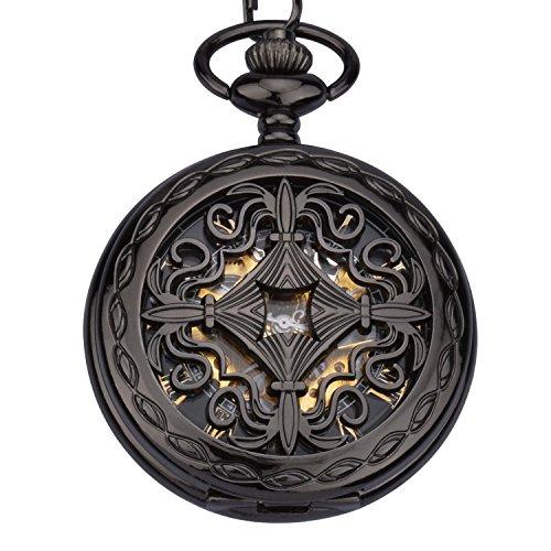 ZEIGER Herren Taschenuhr Analog Mechanisch Handaufzug Uhr Skelett Taschenuhr Armbanduhr W346