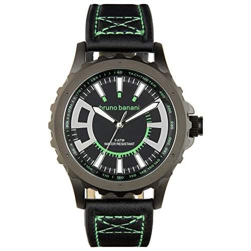 Bruno Banani Herren Armbanduhr Meros Leder-Armband schwarz Quarz-Uhr Ziffernblatt schwarz Trend Uhr UBR30022