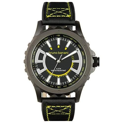 Bruno Banani Herren Armbanduhr Meros Leder-Armband schwarz Quarz-Uhr Ziffernblatt schwarz Trend Uhr UBR30023