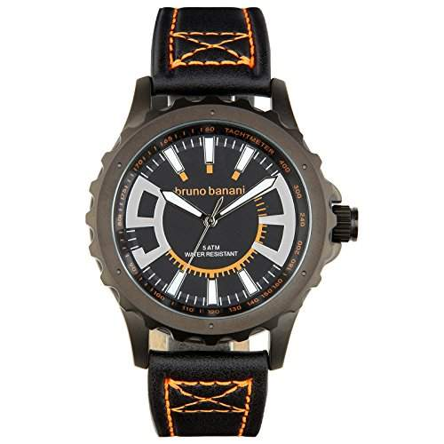 Bruno Banani Herren Armbanduhr Meros Leder-Armband schwarz Quarz-Uhr Ziffernblatt schwarz Trend Uhr UBR30024