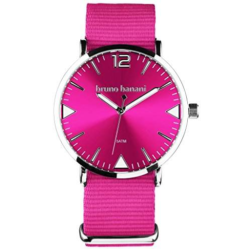bruno banani BR30054 Cool Color Uhr Unisex Stoffband Metall 50m Analog pink