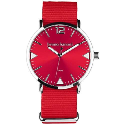 bruno banani BR30055 Cool Color Uhr Unisex Stoffband Metall 50m Analog rot