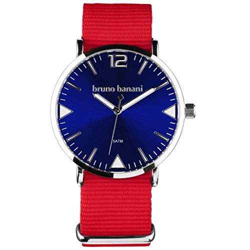 bruno banani BR30064 Cool Color Uhr Unisex Stoffband Metall 50m Analog rot blau