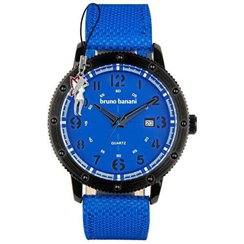 Bruno Banani Herrenuhr Geros Leder-Armband blau Quarz-Uhr Ziffernblatt blau D1UBR30002