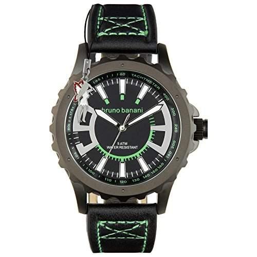 Bruno Banani Herrenuhr Meros Leder-Armband schwarz Quarz-Uhr Ziffernblatt schwarz D1UBR30022