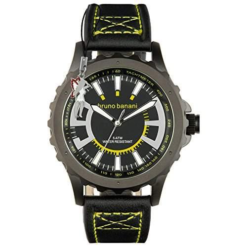 Bruno Banani Herrenuhr Meros Leder-Armband schwarz Quarz-Uhr Ziffernblatt schwarz D1UBR30023