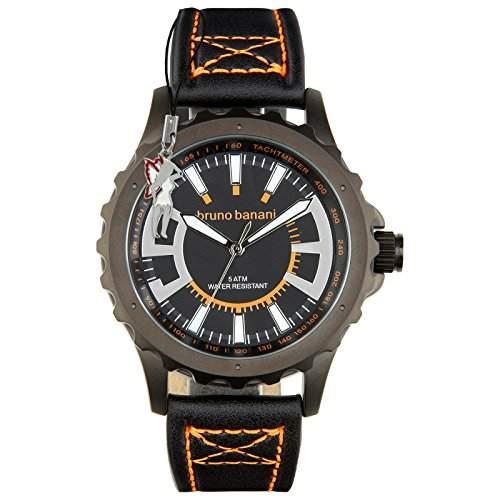 Bruno Banani Herrenuhr Meros Leder-Armband schwarz Quarz-Uhr Ziffernblatt schwarz D1UBR30024