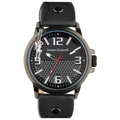 Bruno Banani Herrenuhr Prios Leder-Armband schwarz Quarz-Uhr Ziffernblatt schwarz D1UBR30025