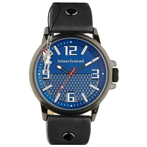 Bruno Banani Herrenuhr Prios Leder-Armband blau Quarz-Uhr Ziffernblatt blau silber D1UBR30027
