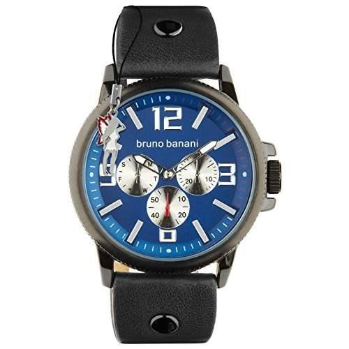 Bruno Banani Herrenuhr Trenos Leder-Armband blau Quarz-Uhr Ziffernblatt blau D1UBR30031
