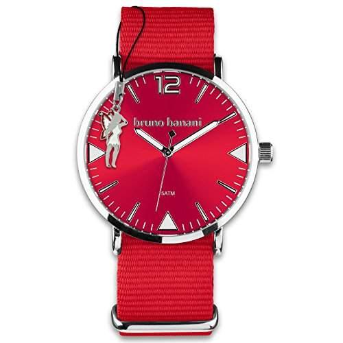 BrunoBanani Damenuhr + Nylon-Armband rot Quarz-Uhr Ziffernblatt rot mit Fee-Anhaenger D1UBR30055