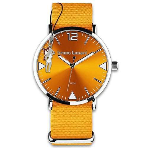 BrunoBanani Damenuhr + Nylon-Armband orange Quarz-Uhr Ziffernblatt orange mit Fee-Anhaenger D1UBR30056