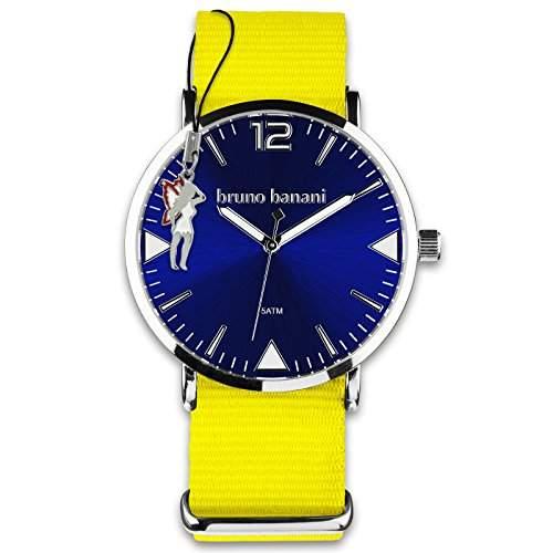 BrunoBanani Damenuhr + Nylon-Armband gelb Quarz-Uhr Ziffernblatt dunkelblau mit Fee-Anhaenger D1UBR30059