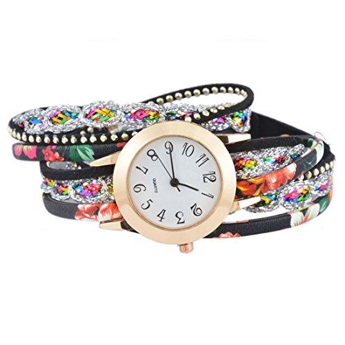 Souarts Damen Schwarz Retro Stil Geflochten Blumen Armbanduhr Quartzuhr Analog mit Batterie