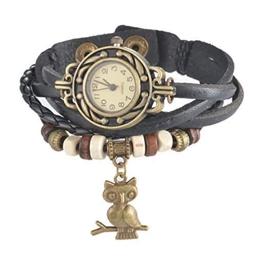 Souarts Damen Geflochten Armbunduhr Eule Anhaenger Jugendliche Maedchen Armreif Uhr mit Batterie Zifferblatt Schwarz