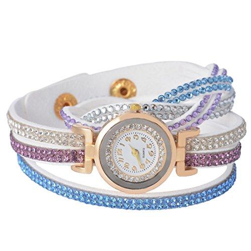 Souarts Damen Weiss Korean Velvet Vintage Armbanduhr mit Strass Anhaenger Quartzuhr Analog mit Batterie