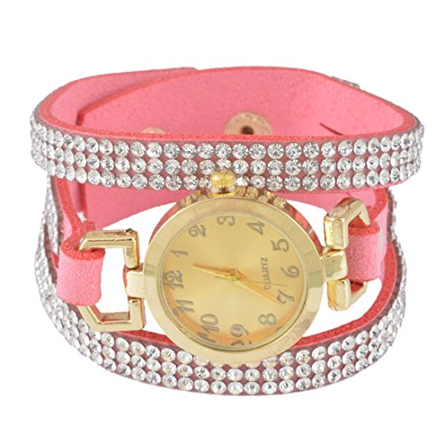 Souarts Damen Rosa Korean Velvet Vintage Armbanduhr mit Strass Anhaenger Quartzuhr Analog mit Batterie