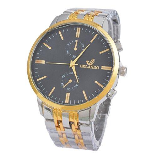 Souarts Herren Schwarz Farbe Armbanduhr Edelstahl Besondere Zifferblatt Quartz Analog Armreif Uhr mit Batterie