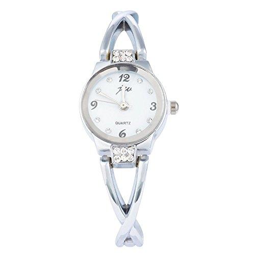 Souarts Damen Edelstahl Armbanduhr Quartz Analog Armreif Uhr mit Batterie