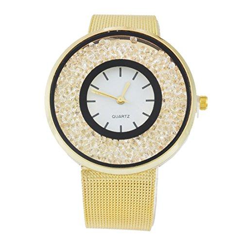 Souarts Damen Goldig Farbe Edelstahl Uhrarmband Treibsand Armbanduhr Quartzuhr Analog Armreif Uhr mit Batterie