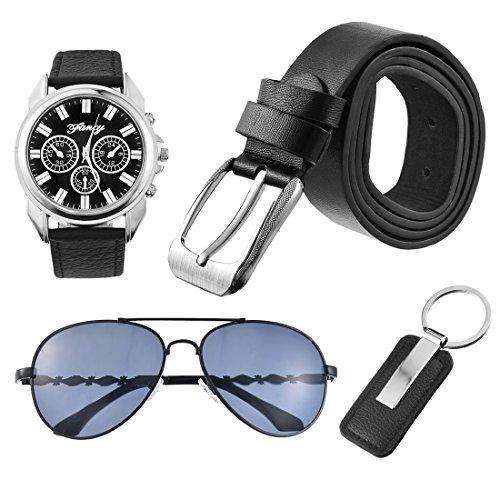 Souarts Herren Geschenkset mit Armbanduhr Sonnenbrille Guertel Schluesselanhaenger Geschenkset fuer Herren
