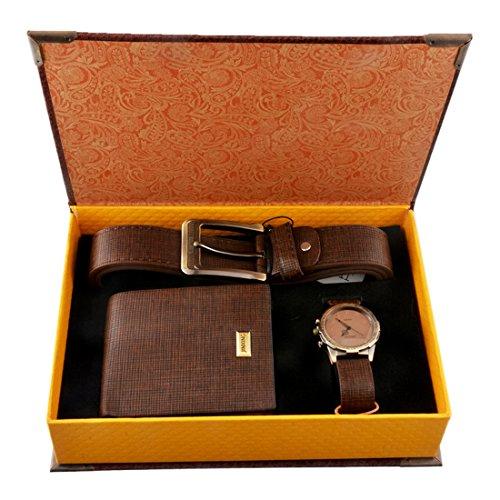 Souarts Herren Geschenkset mit Armbanduhr Geldboerse Guertel Geschenkset fuer Herren Braun
