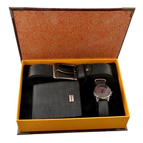 Souarts Herren Geschenkset mit Armbanduhr Geldboerse Guertel Geschenkset fuer Herren